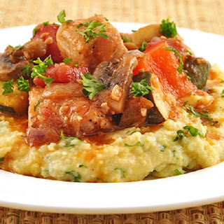 Slow Cooker Chicken,Mushroom,and Tomato Stew with Polenta