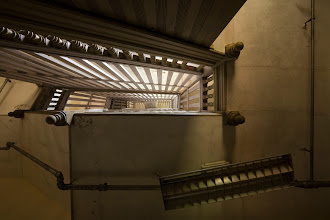 Photo: View up the grand stairwell at the Babcock Building, South Carolina State Hospital.