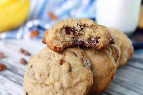 """Chewy Banana Chocolate Chip Cookies """"Yum! These cookies remind us of muffin..."""
