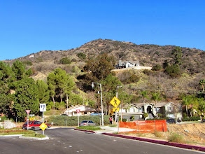 Photo: View north from McNeal Drive toward L.A. County Fire Station 92, the trailhead for Garcia Trail and Azusa Peak