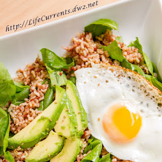 Asian Volcano Rice with Spinach, Avocado, and Fried Egg