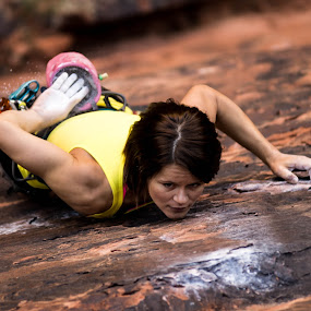 Chalking Up by Ryan Skeers - Sports & Fitness Climbing ( girls, rock climbing, climbing, girls climbing, richness of it all )