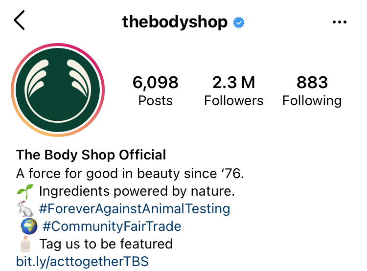 The body shop's Instagram account