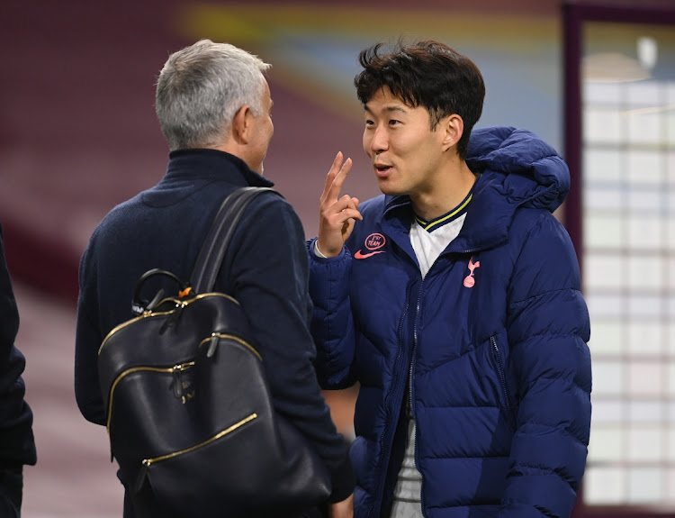 Tottenham Hotspur's Son Heung-min with manager Jose Mourinho. Picture: REUTERS/MICHAEL REGAN