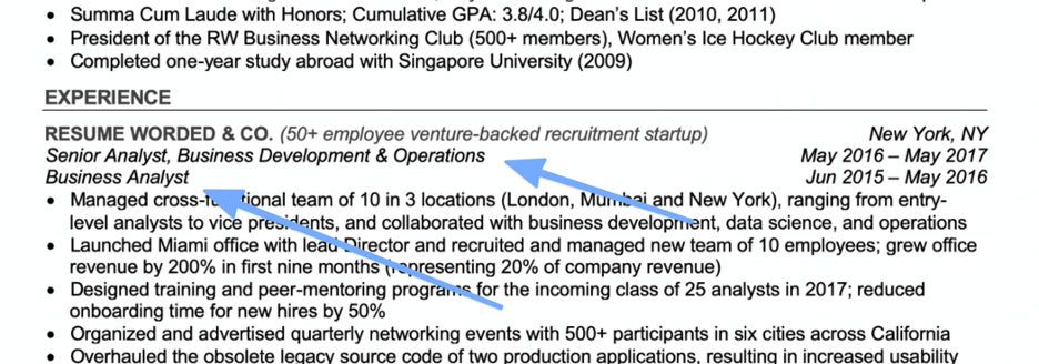 Example of showing a promotion on a resume when roles are relatively similar