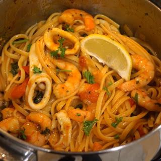 Quick Dinner: Prawn and Squid Tomato Spaghetti Pasta Recipe  Recipe