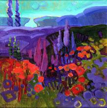 "Photo: ""Pageo Lavender Farm"", acrylic on linen 12"" x 12"", © Nancy Roberts"