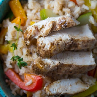 Pan Roasted Chicken Breasts with Rice and Vegetables Recipe