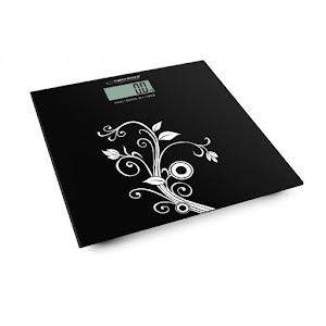 Cantar digital din sticla pentru baie, 180 kg, Negru