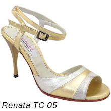 Photo: Cuir poudré platinium & cuir métallisé or - Talon acrylique bobine fin 8 cm. Plus sur www.raquel-shoes.com