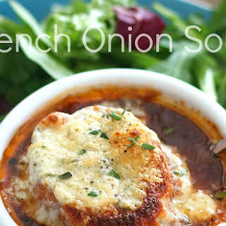 French Onion Soup with Bleu Cheese Toasts.