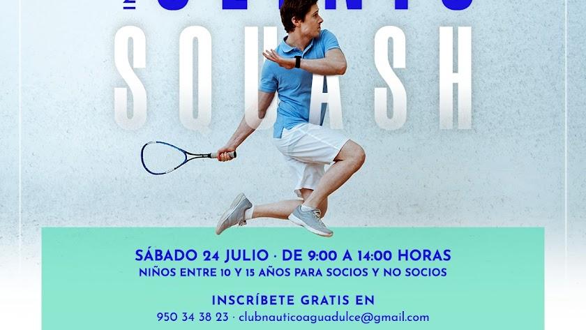 El Club Náutico de Aguadulce organiza un Clínic de iniciación de squash.