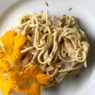 Seitan in Saffron Sauce with Spaghetti