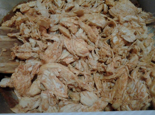 Place shredded chicken in a skillet. Add seasoning mix (whether your own or substituted...