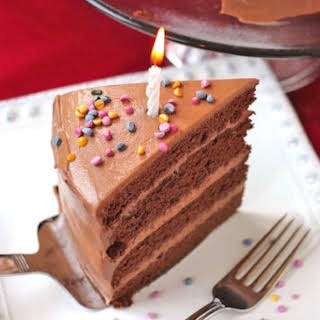 Healthy Chocolate Birthday Cake with Chocolate Frosting.