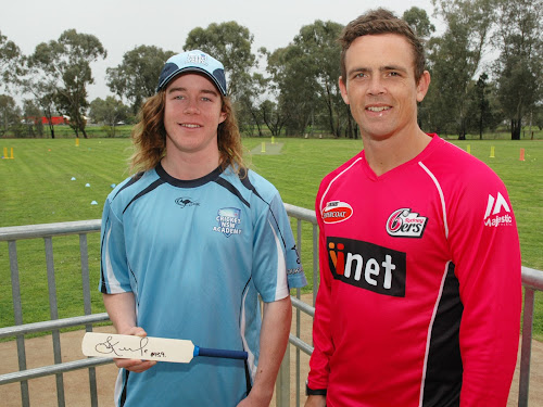 Coby Cornish, left, with Steve O'Keefe last month in Narrabri