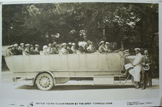 Photo: 'Motor tours to Dartmoor by The Grey Torpedo Cars'   Another interesting image of tourist trips to the moor from the English Riviera, which was then quite an up-market holiday destination. From 1902, Torquay had started to promote itself towards healthy tourists, rather than invalids as before.  Grey's were an early operator of tourist trips, starting around 1913 using the 'Torpedo Car' brand with two charabancs, of which this may well be one. The firm appears to have acquired the business of Grist & Sons - see previous image. The 'Torpedo' brand was abandoned in 1919, no doubt due to the association of the name with the weapon used in WWI!