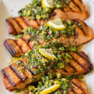 Grilled Salmon with Avocado Chimichurri Recipe