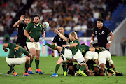 Rassie Erasmus's conservative game plan of tactical kicking and territorial dominance didn't pay off on the scoreboard in the Rugby World Cup match between South Africa and New Zealand at International Stadium Yokohama, in Yokohama, Japan, on September 21 2019.