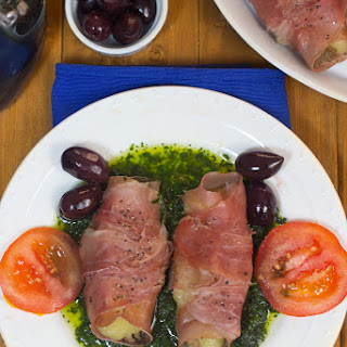 Mozzarella Wrapped in Prosciutto with Basil Sauce Recipe