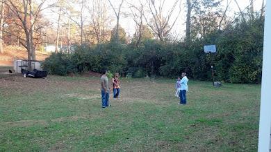 Photo: Kamau, Q, Kaleya & Jihad playing in Mama Frances' yard