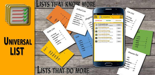 Universal list will help you organize and manage details of duties, ideas,....