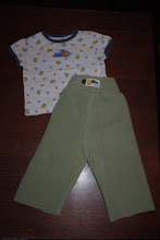 Photo: Sorry this is a little out of focus. These are Size SMALL Fleece Pants with EXTRA layer of fleece (shorties) inside. 0-3 months T-shirt. These Longies are made by me and are the Little Comet Tails Pattern. I use the Home Sew License and am not selling these for a profit,  I made them for my sons. $12ppd for all you see here. These Pants are UNHEMMED. This is because I had a very skinny and tall son. He grew in length but not in waist size, so I left his pants unhemmed so I could roll them up and then unroll as he grew. I can hem them for you before they go out if you'd like. Not a big deal :)