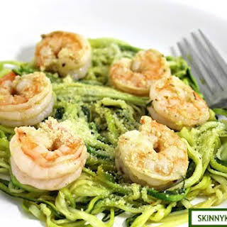Skinny Shrimp Scampi Over Low-Carb Zoodles.