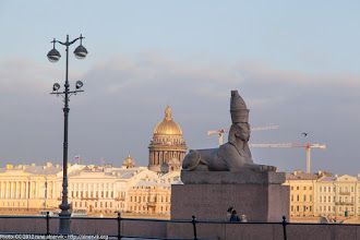 Photo: Sphinx outside Academy of Art, St Isaac's Cathedral in the background.