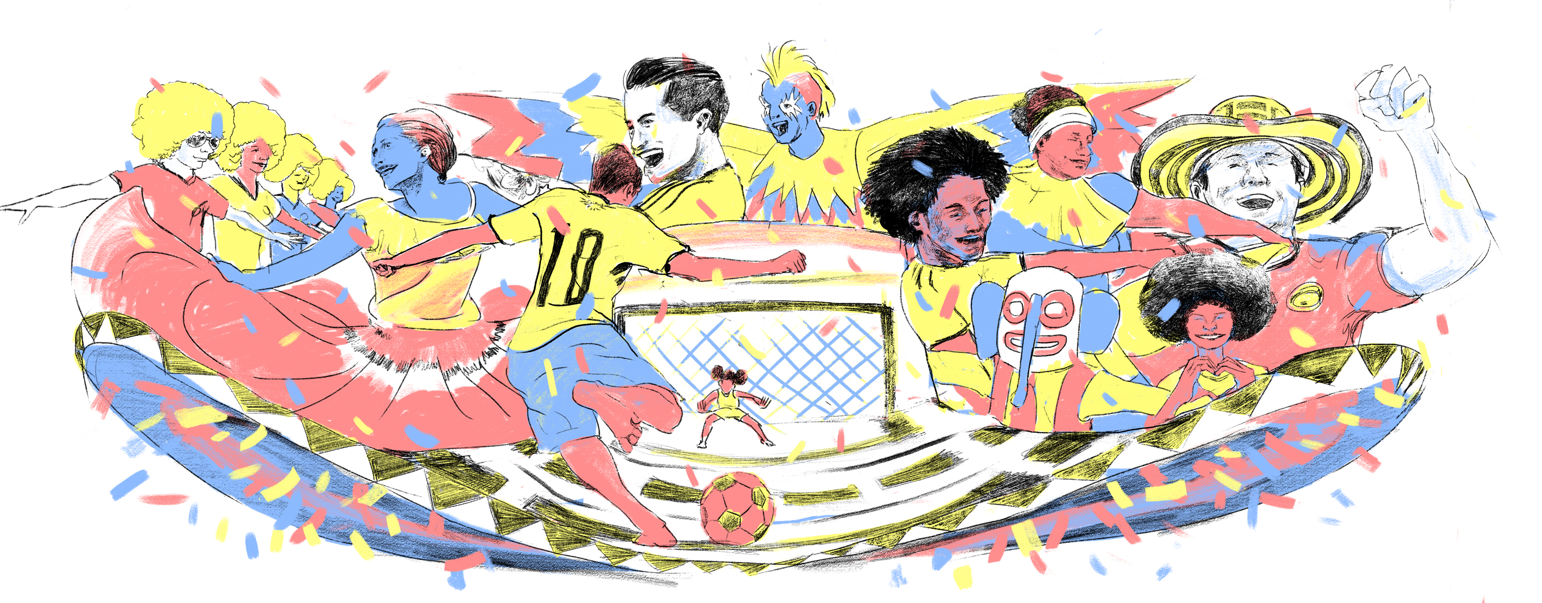 Colombia World Cup Doodle Sketch