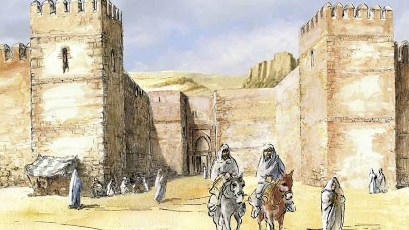 Recreación  idealizada del frontal de la antigua Puerta de Pechina de Almería, obra de Juan José Tonda.
