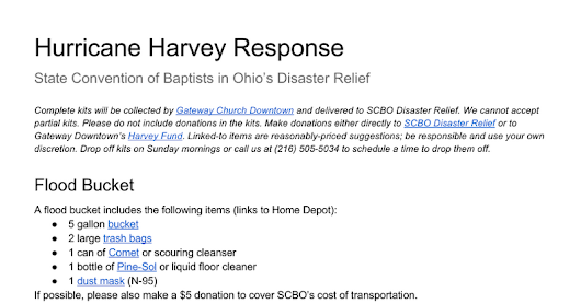 Hurricane Harvey Response In-Kind Items for SCBO-DR