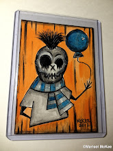 Photo: Balloon Boy. 10.26.2012. 2.5 x 3.5 inches or 6 cm x 9 cm. Watercolors and ink on 100 lb. acid-free Bristol paper. Signed on the front; title and signature on the back. Sealed with a matte finish. Comes in a clear rigid plastic top-loader. ©Marisol McKee.