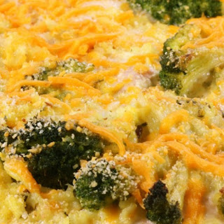 Cheesy Chicken and Broccoli Rice Bake.