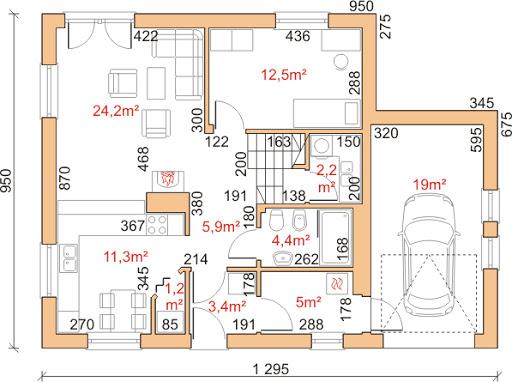 Dom przy Cyprysowej 17 - Rzut parteru