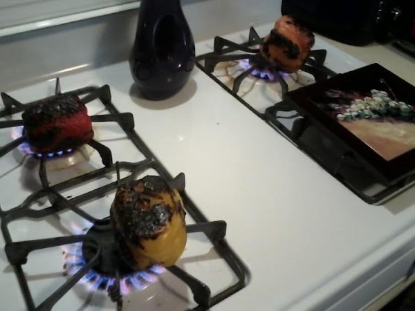 I always roast my peppers on the stove burners, slice and keep in fridge...