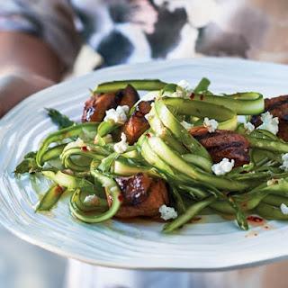 Pork Bites with Shaved Asparagus Salad.