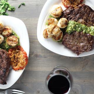 Grilled Steak and Scallops with Cilantro Chimichurri Recipe