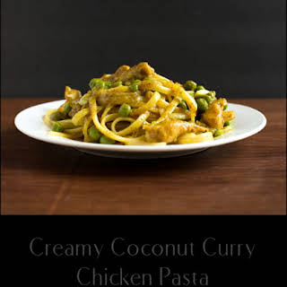 Creamy Coconut Curry Chicken Pasta with Peas.