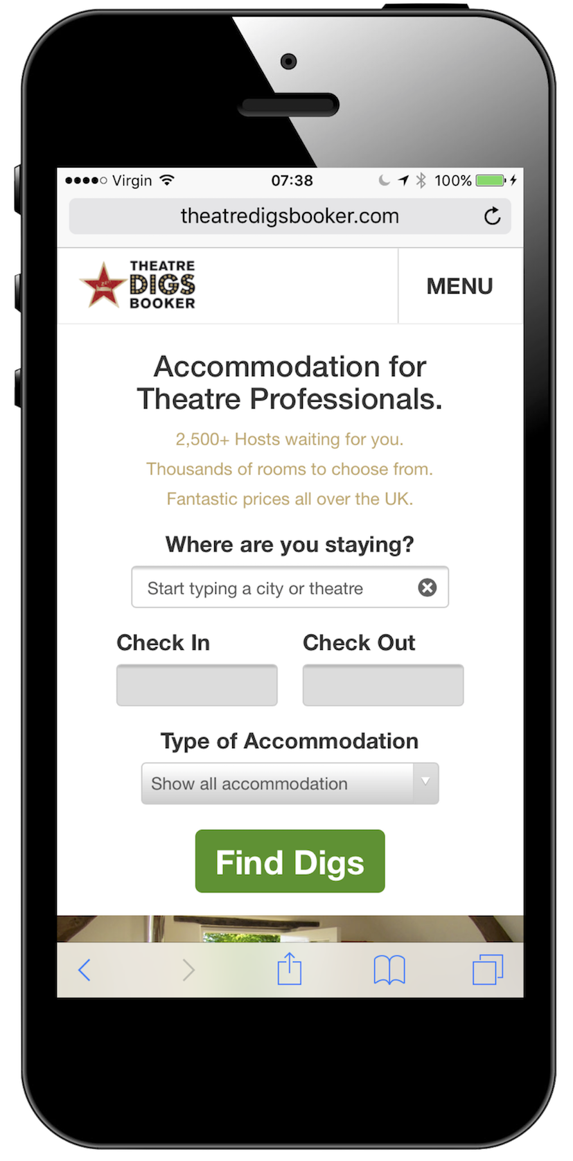 Mobile Friendly Digs Bookings
