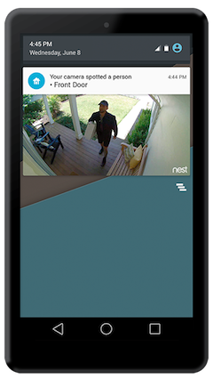 A Nest alert on a smartphone