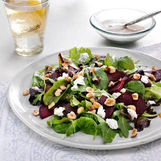 Roasted Beet Salad with Goat Cheese and Hazelnut Dressing.