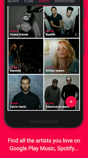 Screenshot 0 for Songkick's Android app'