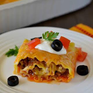 Beef Enchilada Lasagna Rolls.
