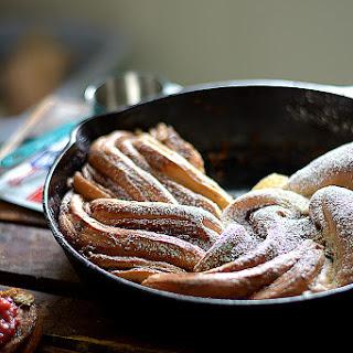 Skillet Cinnamon Buttermilk Bread w/ Vanilla Bean Strawberry Rhubarb Jam