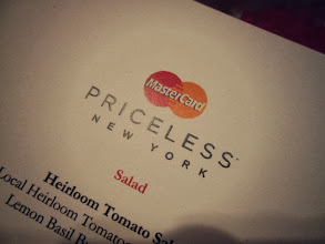 Photo: I love how the monogrammed the menu with the MasterCard logo - it really makes you feel like MasterCard is taking care of the experience, and that a lot of thought has gone into creating the Priceless New York Experiences.