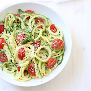 Zucchini Noodles with Tomato, Basil and Parmesan.