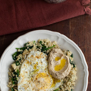 Garlic Spinach, Millet, and Eggs.