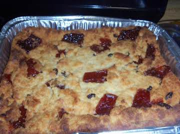 coconut bread pudding w/ raisins and guava