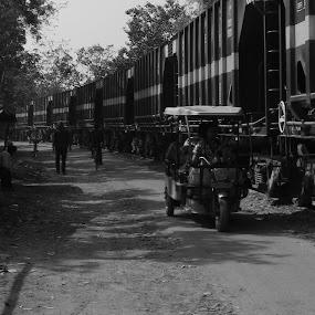Train of time  by Hrijul Dey - Transportation Railway Tracks ( depth, black and white, portrait, train,  )